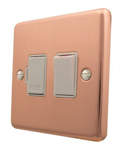 G&H CBC57W Standard Plate Bright Copper 1 Gang Fused Spur 13A Switched